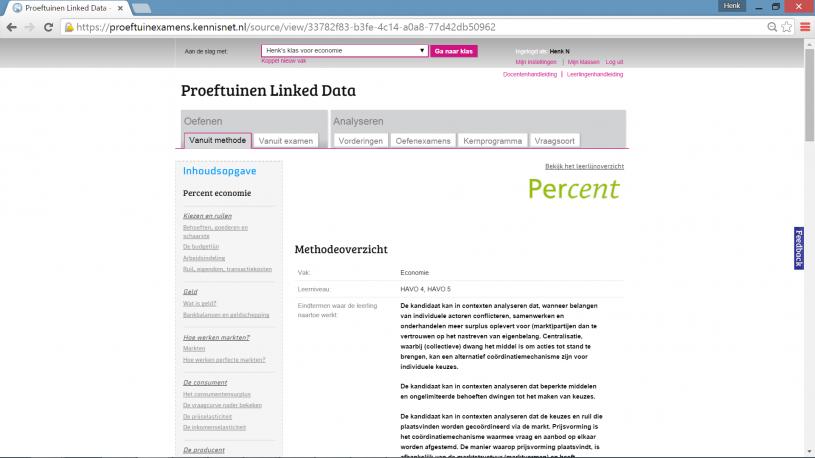 Voorbeeldpagina van de proeftuin Linked Data - havo eindexamens (K12-exam-app for students and teachers - based on Linked Open Data)